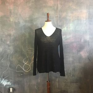 H&M Black Loose Knit V-Neck Sweater